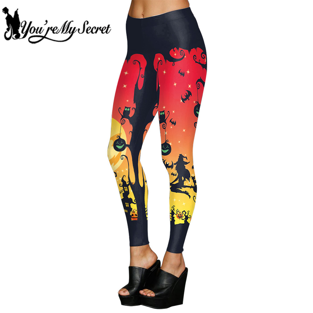 [You're My Secret] Halloween Festival Women leggings Gothic Punk SKull Letter Regular thickness Elastic Pumkin Ankle pants