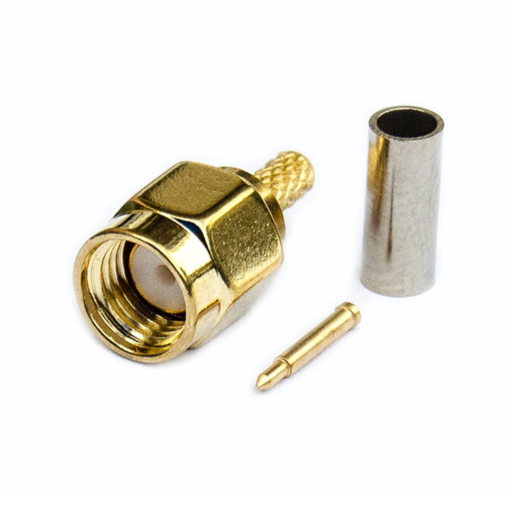 SMA Connector SMA Male Plug Solder Crimp RG316 RG174 LMR100 Cable Straight Wire Connector PTFE Brass Gold PlatingSMA Connector SMA Male Plug Solder Crimp RG316 RG174 LMR100 Cable Straight Wire Connector PTFE Brass Gold Plating