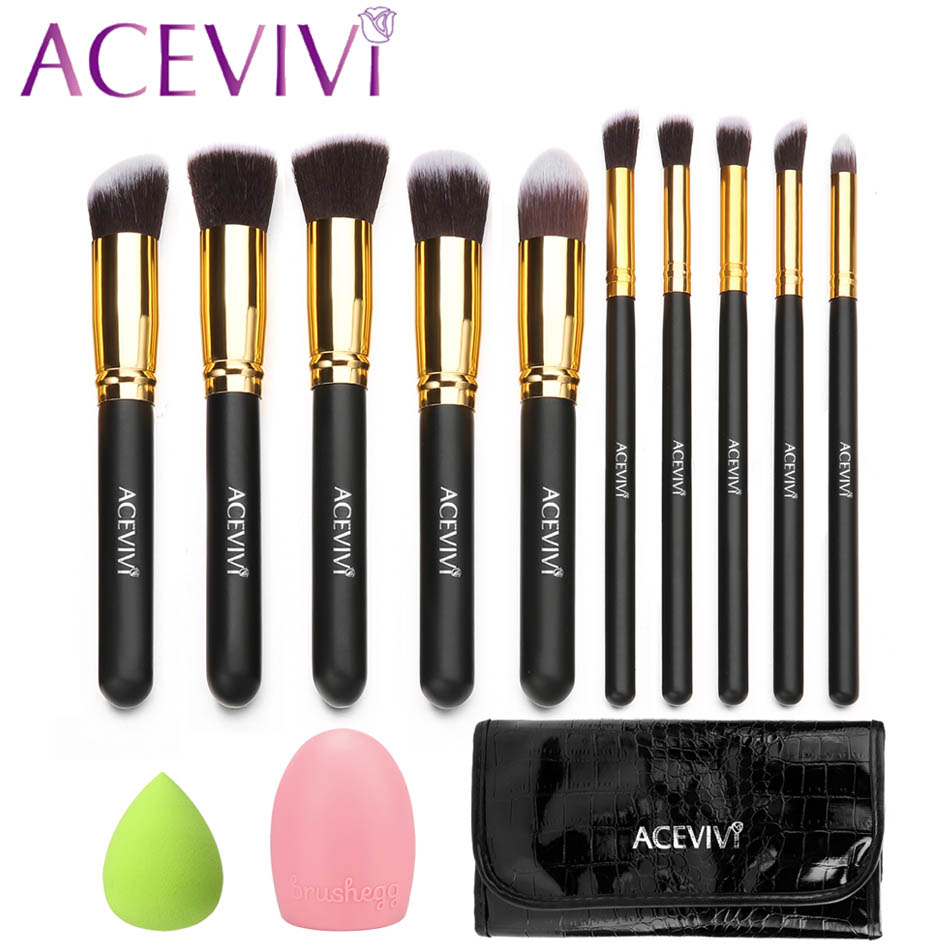 ACEVIVI 10 PCS Makeup Face Powder Brush w/ Carrying Bag + Puff Sponge + Brush Cleaner bob cosmetic makeup powder w puff mirror ivory white 02