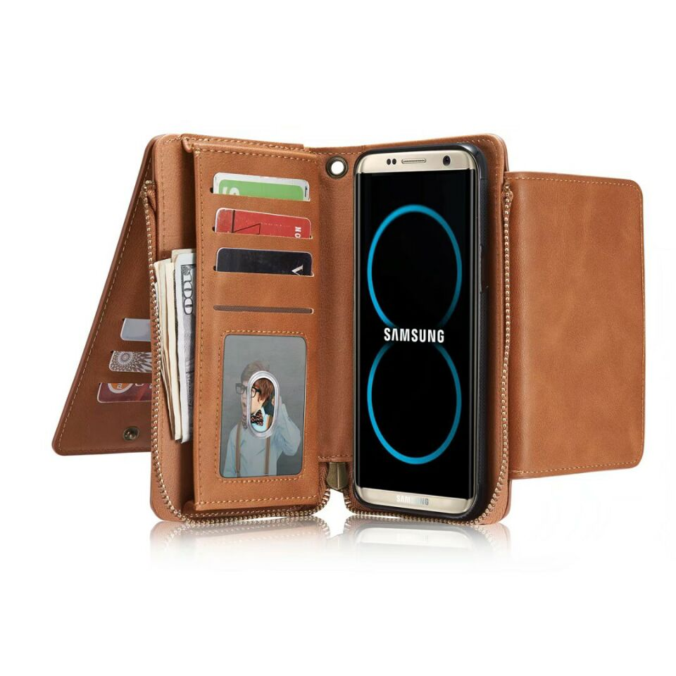 Multifunctional S8 PU Leather case Phone wallet cases For samsung s6 s7 edge S8PLUS s5 note5 card holder zipper hand bag