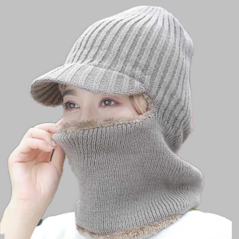 skull mask balaclava face mask winter hats for women men knitted cap neck warmer Caps Winter Hats For Men Women Beanie Fur Warm skull style half face mask old silvery