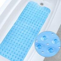 2019 New Rectangle 40x100 cm PVC Anti skid Bath Mat Soft Bathroom Massage Mat Suction Cup Non slip Bathtub Carpet