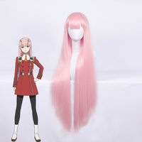 DARLING in the FRANXX ZERO TWO CODE 002 Cosplay Costume Accessory 100cm Long Straight Light Pink Women Girls Party Hair