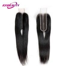 Addbeauty 2x6 закрытие шнурка Ким К бразильские прямые необработанные девственные человеческие волосы младенца естественный цвет глубокая средняя часть 130