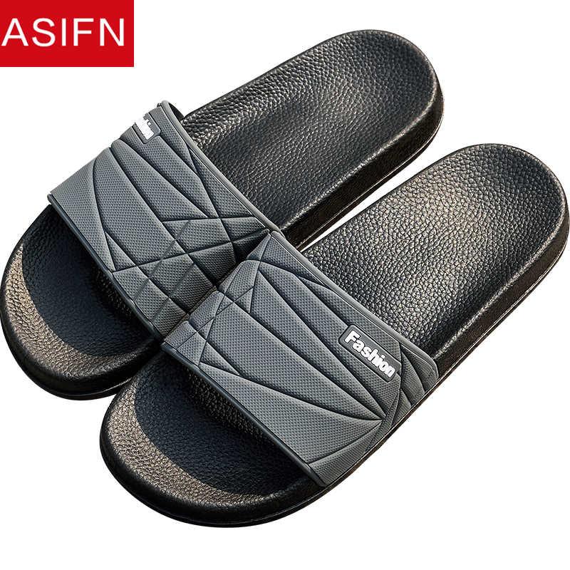 754931a07 ASIFN Men Slippers Summer Home Couple Non-slip Male Slides Man Women  Bathroom Sandals Soft