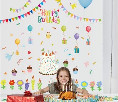 Diy Cartoon Happy Birthday Wall Sticker Flag Kids Rooms