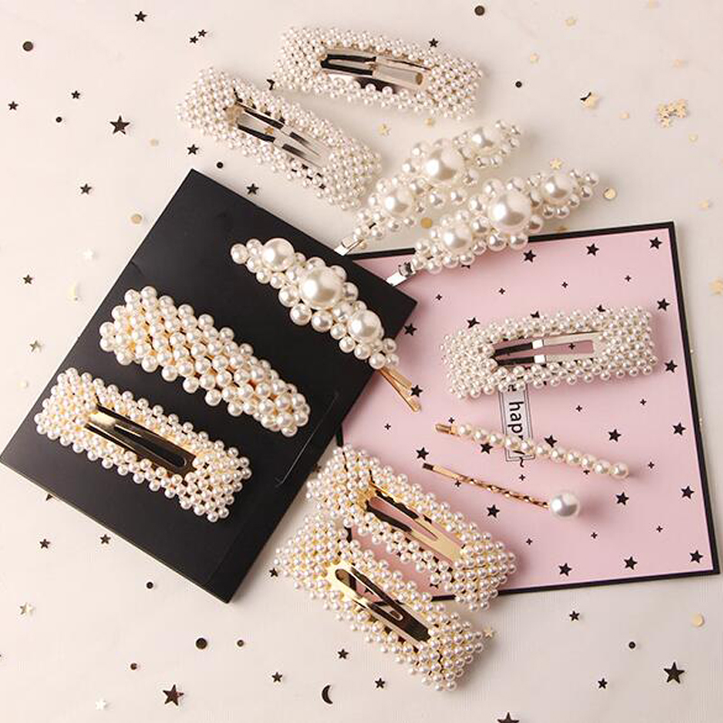 1PC Hairpins Hats New Fashion Headbands Special Offer Women Hair Accessories Girls Elegant Pearl Geometric Alloy Barrettes