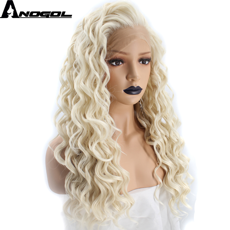 Anogol High Temperature Fiber 613 Frontal Full Hair Wigs Long Deep Wave Platinum Blonde Synthetic Lace Front Wig For White Women