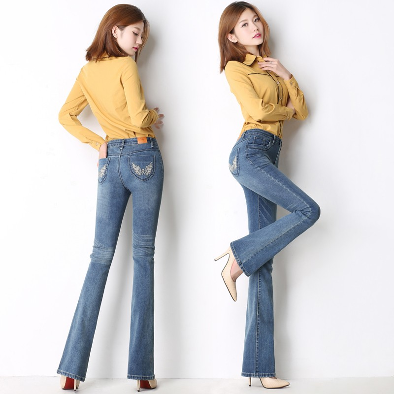 Autumn and winter new waist high waist jeans women wear white stretch large size Slim bell-bottoms with thin trousers 7