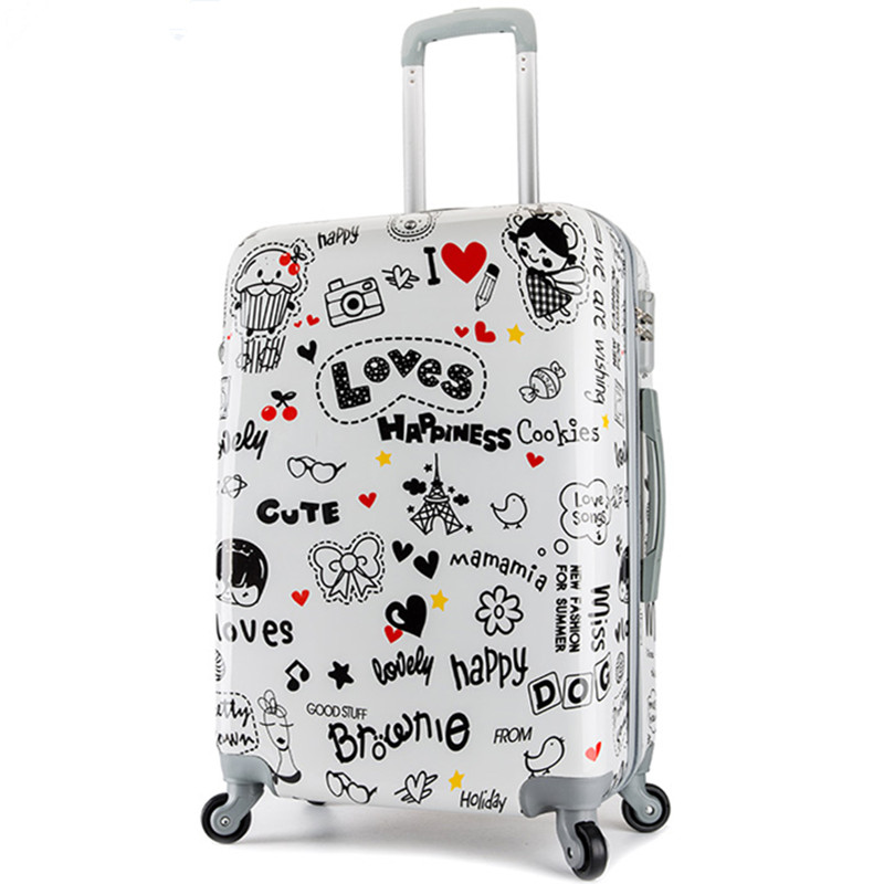 KUNDUI men Suitcase bags,LOVE Heart pattern ABS+PC Cartoons trolley case,women travel luggage, lock, mute bag maletas 14 20 24 kundui suitcase large food and beverage car trunk refrigerator insulation families waterproof hot lunch bag cooler bags 61 l