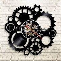 1 조각 Steampunk 장식 벽 시계 벽 예술 전선 기어 비닐 레코드 벽 시계 Steampunk Cogs 홈 장식 현대 디자인 벽 시계