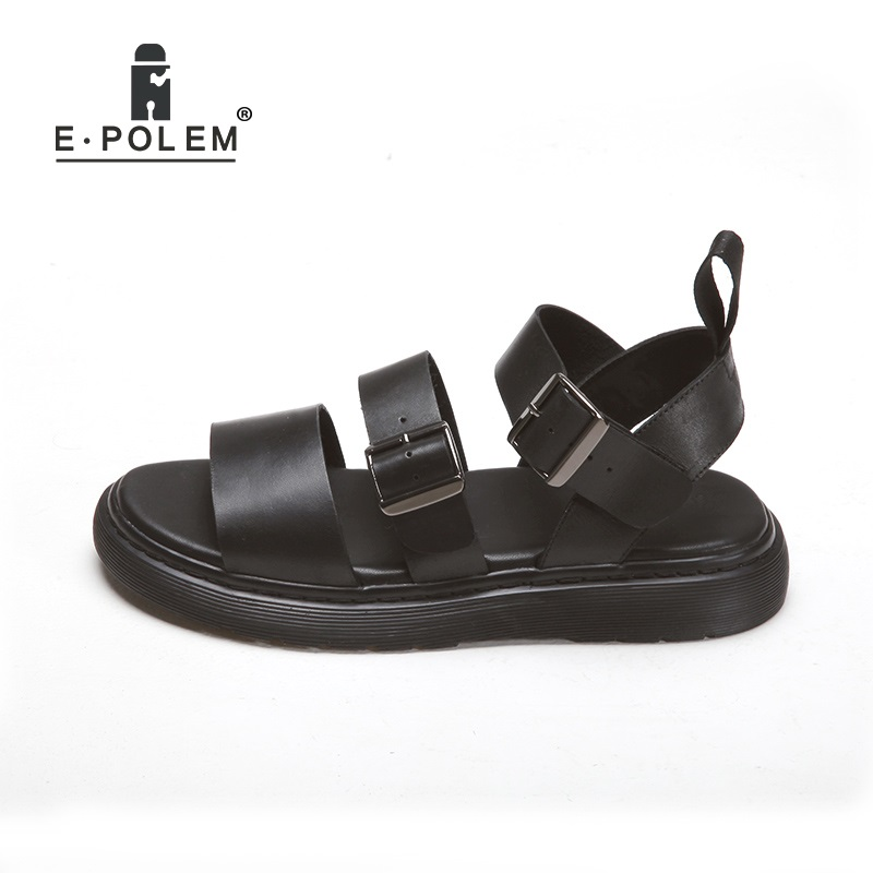 f4ee5911d2 Summer Women's Sandals Black Couples Height Increasing Rome Genuine Leather  Sandals Unisex Fashion Breathable Beach Sandals