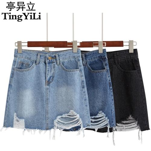 TingYiLi High Waist Jeans Skirt Black Blue Hole Ripped Denim Skirts Womens Korean School Girl A Line Mini Skirt Summer Юбка