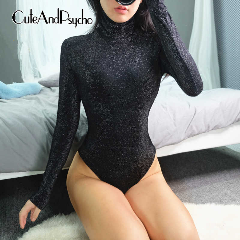 2019 блестящие Сексуальные облегающие костюмы повседневные хлопковые черные женские комбинезоны Harajuku комбинезоны с длинными рукавами уличная одежда Cuteandpsycho