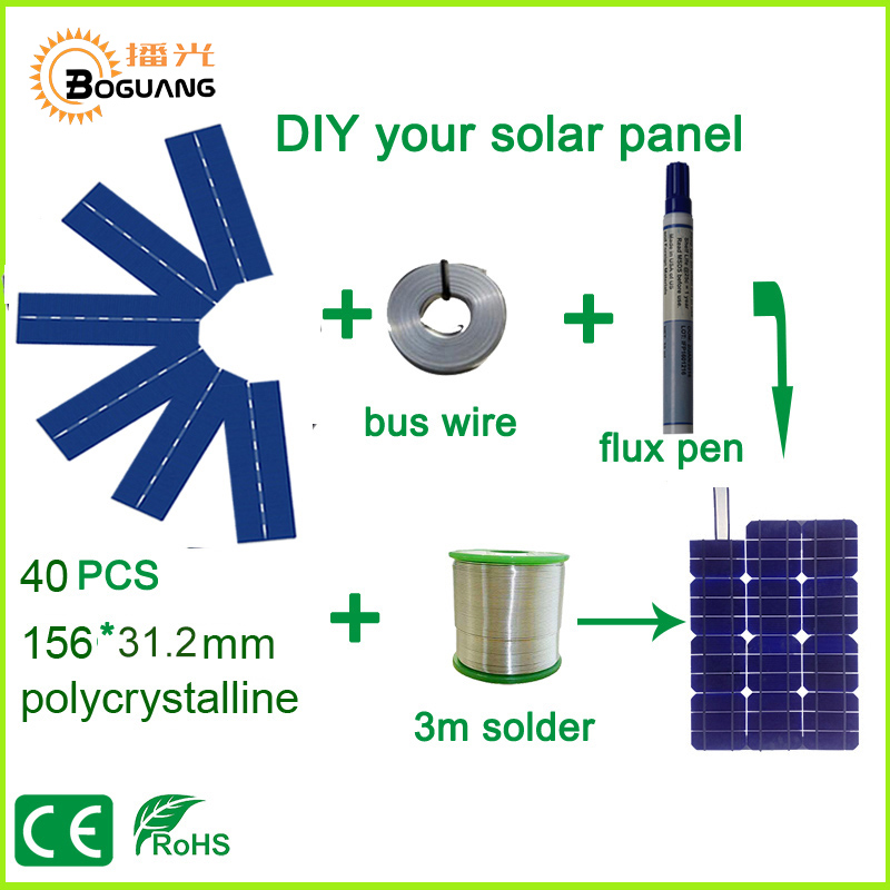 Xinpuguang 50W DIY Solar Panel Kit with 156*31.2mm Polycrystalline Solar Cell Use Flux Pen+Tab Wire+Bus Wire for 50W Solar Panel 40pcs 6x6 full solar cell kits 156 polycrystalline solar cells tabbing wire bus soldering iron flux pen for diy 160w solar panel