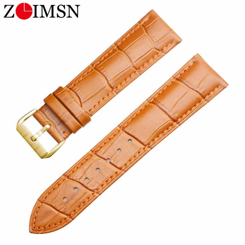 ZLIMSN جلد طبيعي حزام ساعة اليد 16 مللي متر 18 مللي متر 20 مللي متر 22 مللي متر 24 مللي متر حزام (استيك) ساعة ل تيسو سايكو DW لونجين samsung gear سماعة هواوي GT