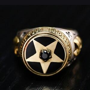 Image 3 - ZABRA oude zilversmid 925 zilveren ornament Thai zilveren pentagram zwarte Zirkoon zilveren ring herstellen van oude manieren mannen ringen