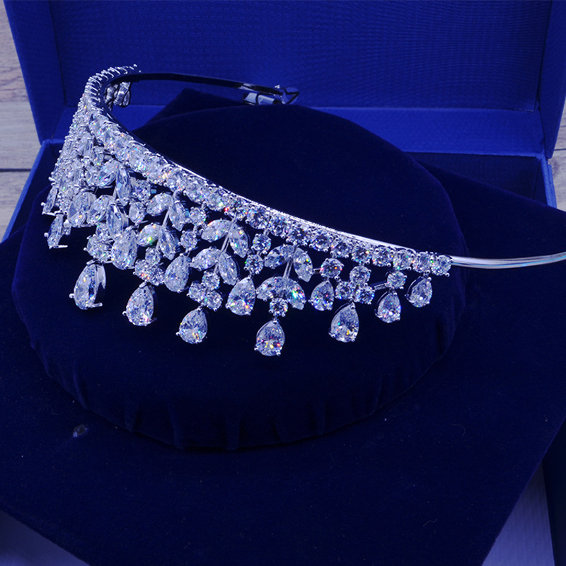 Full AAA CZ Tiara King Crown Wedding Hair Jewelry Micro Pave Party - Fashion Jewelry - Photo 5