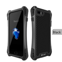 R JUST Amira For Apple Iphone7 8 Life Waterproof Case Carbon Fiber Tempered Glass Metal Case
