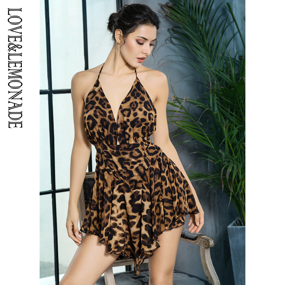 Love&Lemonade  . Deep V-Neck Open Back Ruffled Leopard Chiffon Playsuit LM81380