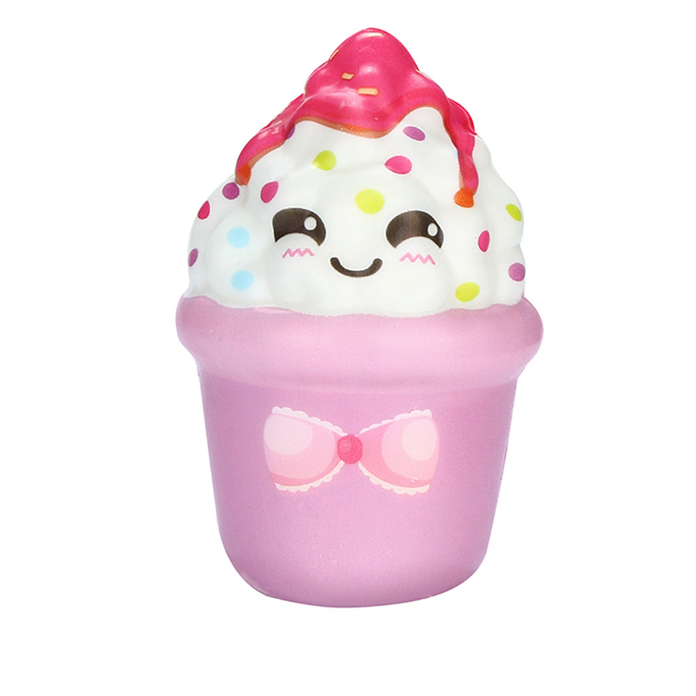 Squish Toy Cute Ice Cream Cup Keychain Stress Relief Toy Cream Scented Squishies Super Slow Rising Squeeze Toys A888 wholesale jumbo squishy cute unicorn cake squishies super slow rising cream scented original package squeeze toy