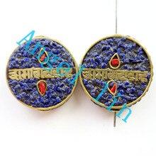 (3 pieces/lot)Nepal Tibetan Type Manual Antique Bead, Flat Round Brass Embed Imitation Turquoises H64484 28x8mm