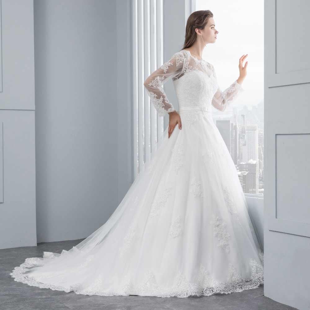 Miaoduo Long Sleeve Lace Appliques Low Back  A-line vestido de noiva Wedding Dresses vestido de noiva abito da sposa Custom made