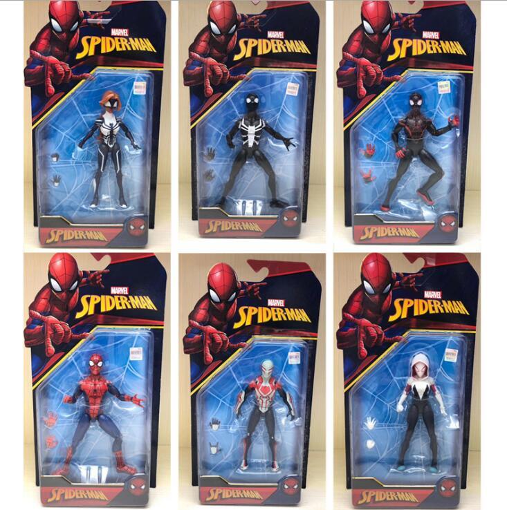 1PC Marvel Hero Spider-man Into the Spider-Verse Figures Venom Miles Morales Spider-Gwen Gwen Stacy Noir Spider-Ham 18cm Figure