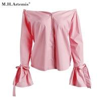 M H Artemis Chic Pink Sexy Off Shoulder Bow Tie Sleeve Blouse Shirt Women Streetwear Autumn