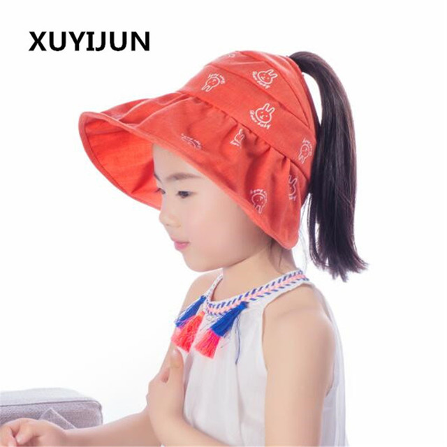 Xuyijun 2018 Summer Girls Sun Hats Children s Beach Caps Kids Flodable Caps  with Wide Birm Anti-uv Hats Outdoor Sunhats 2131e634969