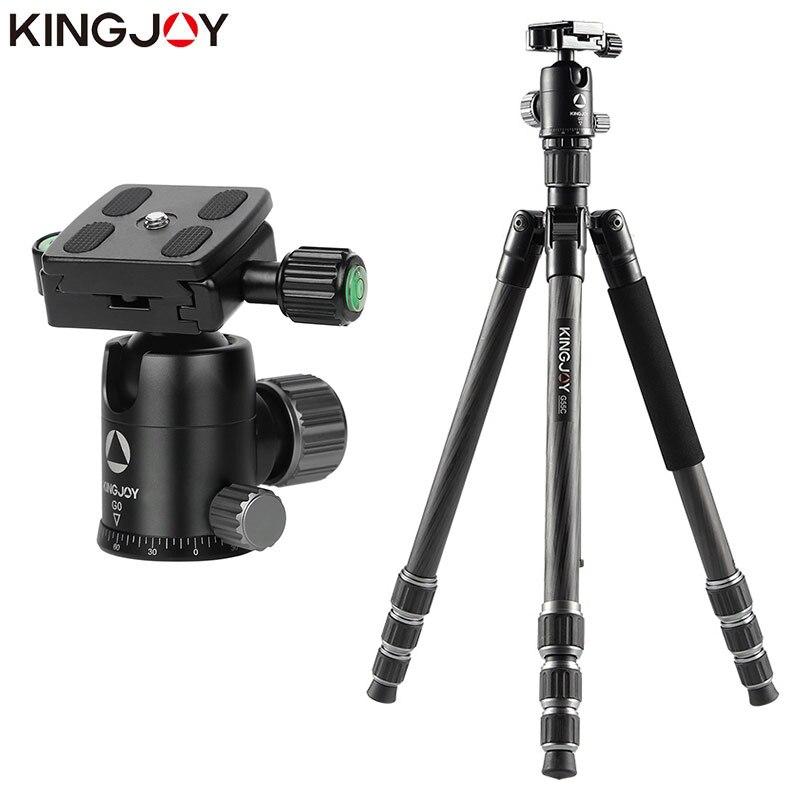 KINGJOY officiel G55 professionnel en Fiber de carbone Portable trépied Kit monopode support rotule pour voyage DSLR caméra photographique