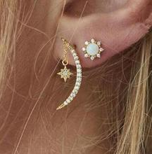 New Vintage Earring Moon And Star Earrings Golden Color Metal Pendant Trend Fashion Jewelry