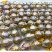 Jxryxrth'NEW 14 15mm Big Metallic luster Golden Edison Pearl,Full strand pearl necklace beads15
