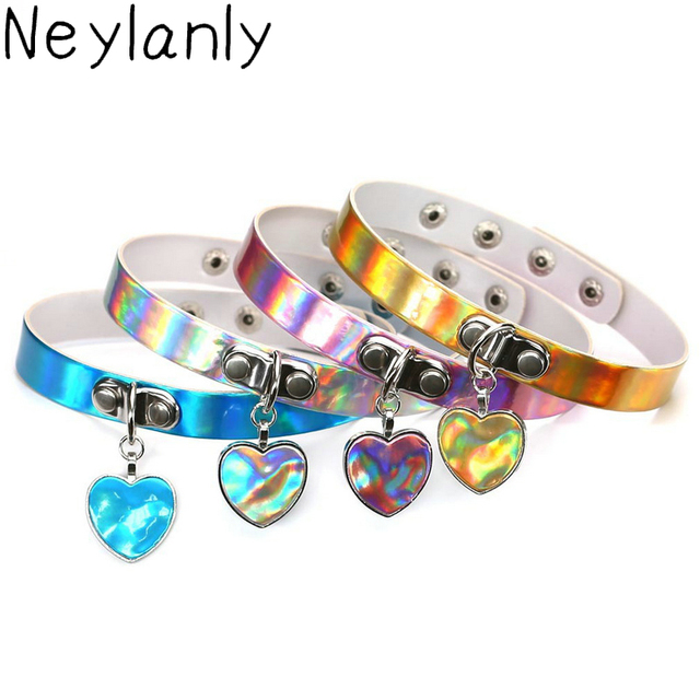 Fashion laser necklace heart gothic punk holographic choker hologram fashion laser necklace heart gothic punk holographic choker hologram pu leather choker 2018 collar statement necklace mozeypictures Images