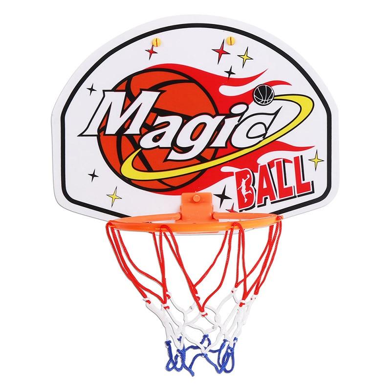 Basketball Plastic Hanging Basketball Netball Hoop Basketball Box Mini Basketball Board Toy Rebounds Indoor Adjustable 27*21cm