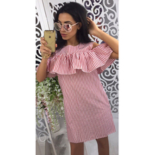 AIZHIXI 2018 Women Fashion Ruffles Blue Striped Summer Dress Casual O-Neck Off Shoulder Butterfly Sleeve Party Short Dresses