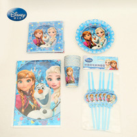 Suitable for 24 People Disney Frozen Tableware Set Total 103 pcs Cup+Napkin+Tablecover+Straw children Party Supplies Decoration
