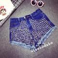 2015 nuevas mujeres del verano Shorts Harem Punk remaches estilo de los pantalones vaqueros de la borla imperio pantalones Casual Denim gran tamaño de 2 colores