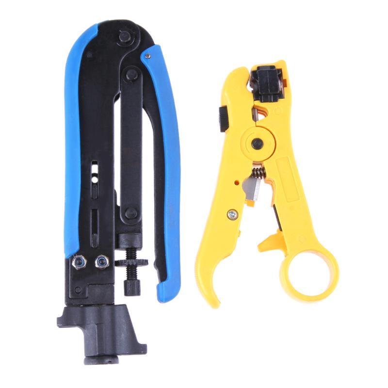 2 pcs Stripper Coaxial Câble Pince À Sertir Set Pour RG6 RG59 RG11 Fil Ligne Cutter Pince À Dénuder Ensemble