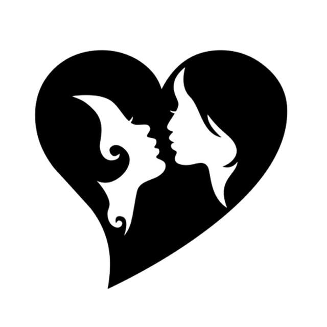 11cm 10 5cm Lesbian Gay Love Heart Fashion Car Sticker Vinyl Black
