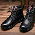 Britânico de couro Mista homens sapatos masculinos quente botas Martin dedo do pé redondo de lã homens inverno