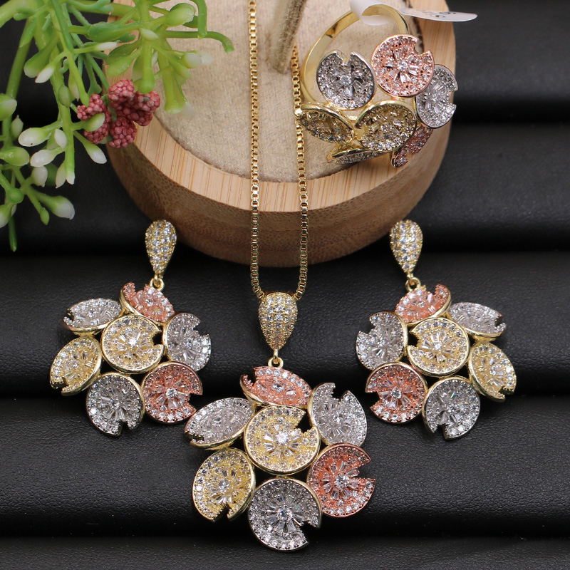 Lanyika Jewelry Set Beautiful Petunia Round Micro Paved Full Zircon Necklace with Earrings and Ring for Wedding Best Pop Gift