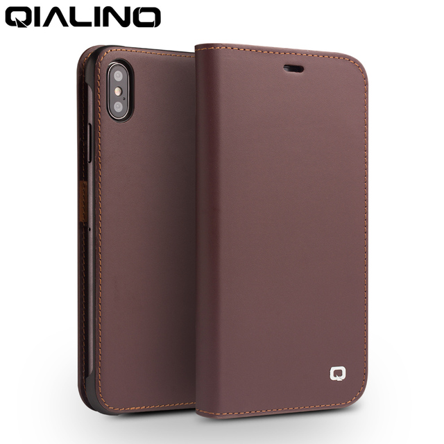 QIALINO Genuine Leather Phone Cover for iPhone XS/XR Handmade Luxury Ultra Slim Wallet Card Slot Bag Flip Case for iPhone XS Max