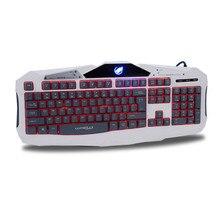 Профессия Красный/Фиолетовый/Голубой Подсветкой LED Pro Gaming Keyboard 104CK Проводной USB Питание Полный N-Key для LOL Компьютерная Периферия
