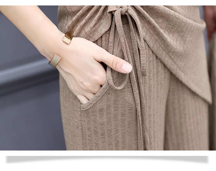 ถัก 3 ชิ้นชุดผู้หญิงแขนยาวและเสื้อแขนกุดเสื้อและกางเกงขากว้างของผู้หญิงชุด 2019