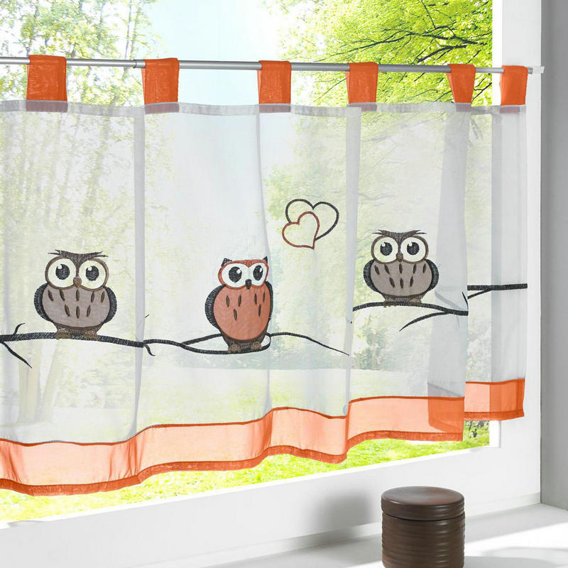 2016 Cafe Kitchen Curtains Voile Window Blind Curtain Owl: Popular Embroidery Small Voile Floral/Leaves/Owl Pattern Sheer Curtain Tulle For Kitchen Balcony