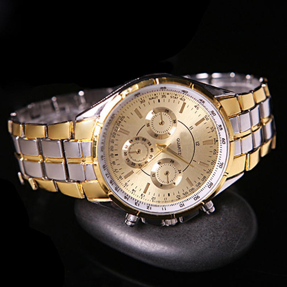Sanwood Men Fashion Casual Businss Stainless Steel Band Analog Quartz Wrist Watch
