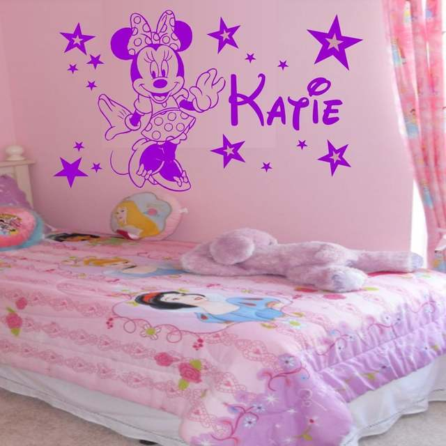 US $5.63 6% OFF|home decoration Personalised Minnie Mouse stars girls  bedroom wall art sticker decal any name wall stickers-in Wall Stickers from  Home ...