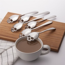 Creative personality Skull Shaped Spoon Stainless Steel Coffee Spoons Teaspoon Cutlery