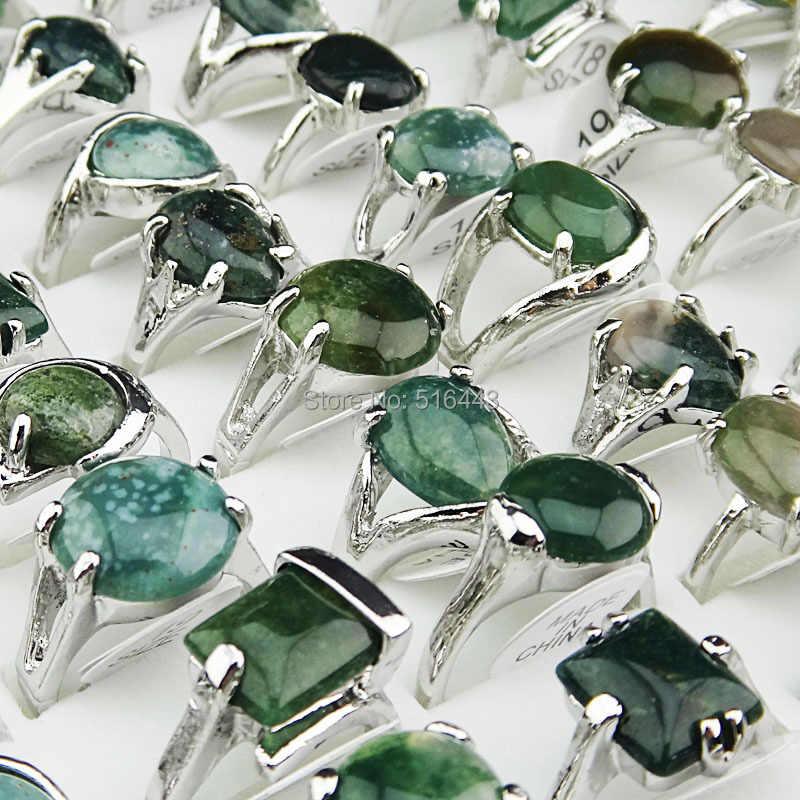 เครื่องประดับขายส่งจำนวนมาก50ชิ้น100%ธรรมชาติสีเขียวหินทัวร์มาลีนหินผสมสไตล์แหวนเงินสำหรับสตรีบุรุษแฟชั่นA002